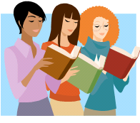 3 women reading books as envisaged by chick lit marketeer