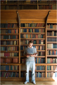 Big bookcase or small man either or
