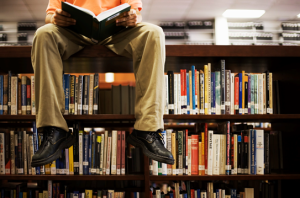 mans sitting on top bookcase photo
