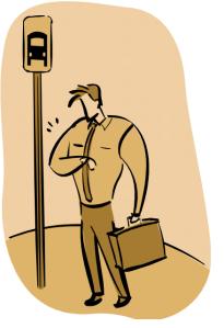 Man at bus stop... or not